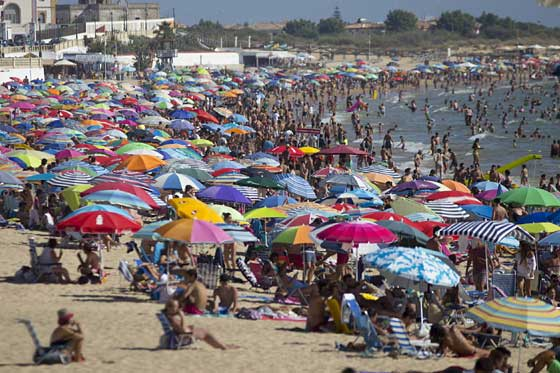 Playa de Regla, one of the most popular beaches in Cadiz province